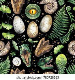 Prehistoric watercolor collection of dinosaur body parts, fossils and plants. Hand painted seamless pattern