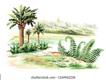 Prehistorical landscape. Watercolor hand drawn illustration, isolated on white background