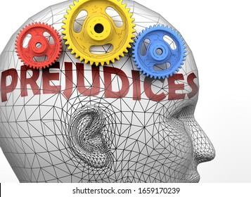 Prejudices and human mind - pictured as word Prejudices inside a head to symbolize relation between Prejudices and the human psyche, 3d illustration
