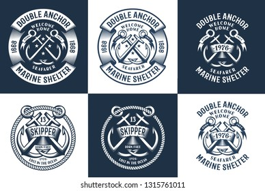 Premium authentic navy logos with anchor and ropes