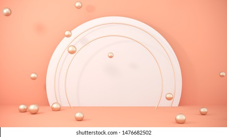 Premium background for advertising goods, items, bags, shoes. Podium, stand on pastel light, beige background with flying golden balls, spheres. Stylish trendy illustration,graphic design -3D, render.