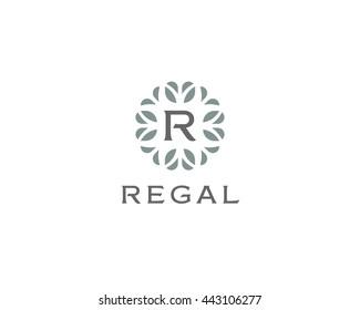 Premium monogram letter R initials logo. Universal symbol icon design. Luxury abc leaf logotype.