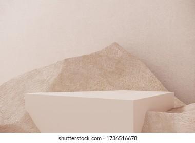 Podio premium hecho de papel sobre fondo pastel con ramas de plantas, hojas, guijarros y piedras naturales.Maquillaje para las exhibiciones, presentación de productos, terapia, relajación y salud -3d representaciones.