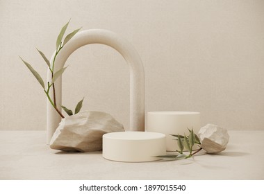 Premium podium made of paper on pastel background with plant branches,leaves,pebbles and natural stones.Mock up for the exhibitions,presentation of products, therapy, relaxation and health -3d render.
