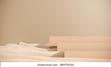 Premium podium, stand on pastel light background. Simple modern background for advertising, branding and product presentation. Illustration for spa care, relaxation, therapy and health - 3d render.