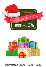 Premium quality Christmas sale promo sticker with hat, advert text on ribbon and piles of packed presents wrapped in colored paper bows raster poster