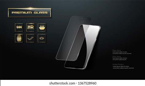 Premium  Screen Protector Glass.  illustration of transparent tempered glass shield for mobile phone.