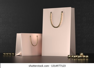 Premium shopping bags mock-up, package for purchases on a black background. Rose gold paper shopping bag with golden handles mock up. Luxury paper bags, 3d rendering