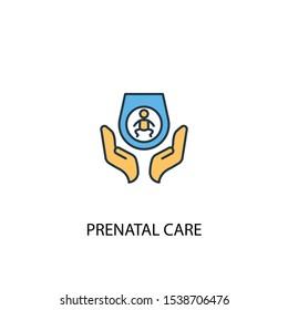 Prenatal care concept 2 colored line icon. Simple yellow and blue element illustration. Prenatal care concept outline symbol design
