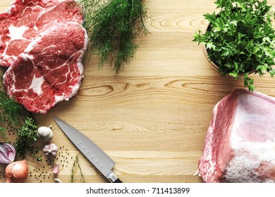 Preparation for cooking. Meat, vegetables and spices on light wooden background. 3D Rendering