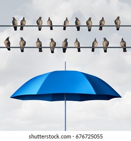 Prepared for the inevitable and ready for anticipated trouble as a group of birds on wires with an open umbrella anticipating and planning for eventual certainty with 3D illustration elements.