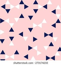 Preppy Pink, Navy, & White Triangle Geometric Pattern