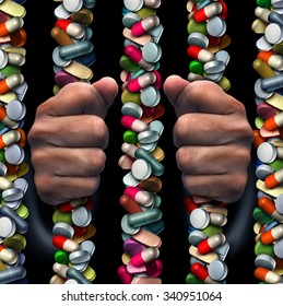 Prescription drug addiction medical concept as a group of medicine capsules and painkiller pills shaped as prison or jail bars as a health care symbol with a medication addict trapped inside.