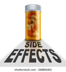 Prescription medication side effects and medicine adverse reaction to medical drugs concept as a pill bottle with a cast shadow and the words representing health care problems with drug therapy.
