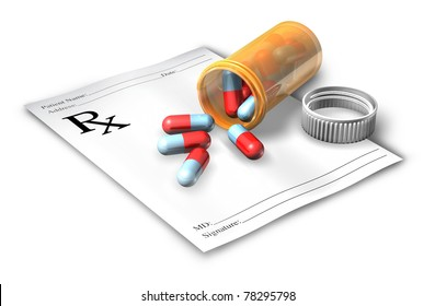 Prescription note with pill bottle isolated on a white background representing a doctor's medicine cure given to a pharmacist.