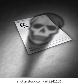 Prescription pain medication danger or opioid painkiller prescribed pills concept as the shadow of a death skull on a doctor medicine note as a 3D illustration.