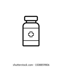 Prescription pills bottle linear icon. Thin line illustration. Medications. Contour symbol. Raster isolated outline drawing