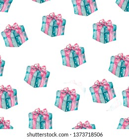 Present box seamless gift pattern. Giveaway holidays repeated pattern present boxes illustration For greeting birthday, celebration card Watercolor clip art, beauty style on white background Geometric
