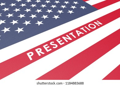 Presentaion Cover American Flag Graphic, with White Word Printed on Fine Carton Paper, Stars, Red Stripes, Blue, Perspective View