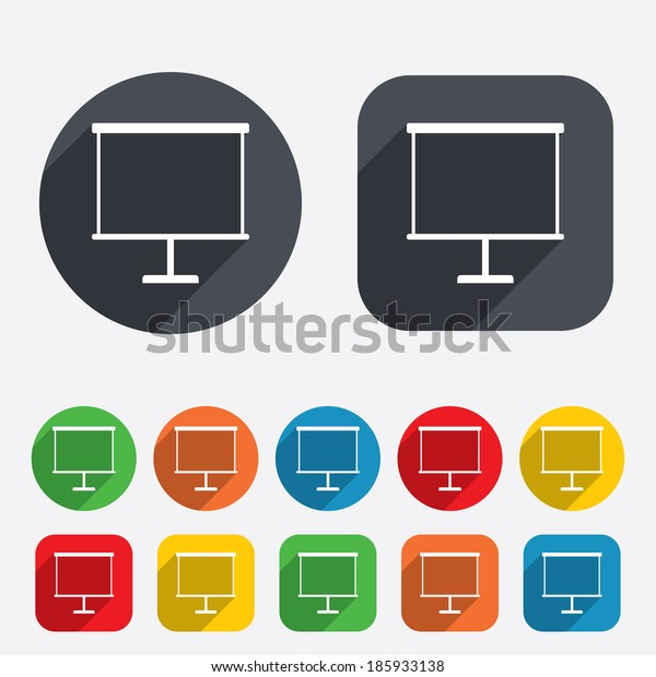 Presentation billboard sign icon. Clean board symbol. Circles and rounded squares 12 buttons.