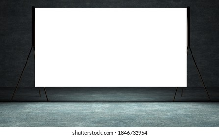 Presentation board, blank whiteboard for conference. Free space for advertising.Projection screen on stage. 3d illustration