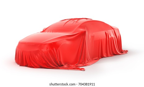 Presentation of the car. Car under the cloth. 3d illustration