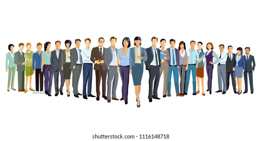 Presentation of a group of people, illustration