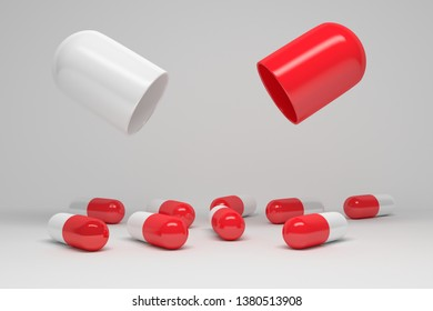 Presentation mock up with large opened pill and small capsules in red and white colors. Image with copy blank space. 3d illustration.