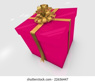 Presents box in 3D with a bow
