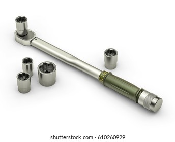 Preset torque wrench isolated on white background. Torque Tools. 3d illustration