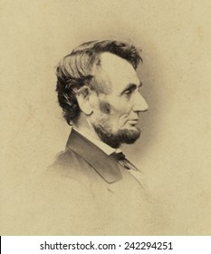 President Abraham Lincoln (1809-1865) in profile portrait of February 9, 1864. By Anthony Berger of Mathew Brady's studo.