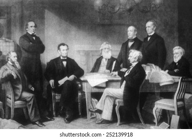 President Abraham Lincoln reading the Emancipation Proclamation to his Cabinet, 1862