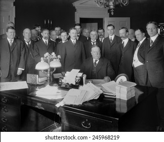 President William H. Taft in the Oval Office signing Arizona Statehood Bill admitting the 48th state on February 14 1912. The Arizona state constitution granted its women citizens the right to vote.