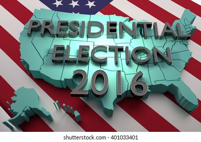 Presidential Election - 2016 - 3D Illustration