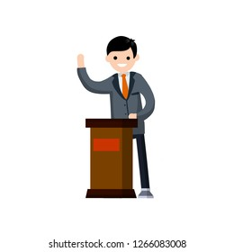 Presidential election. Male politician stands behind the podium. Male speech. Debate and discussion. Lecturer at a lecture in a suit.