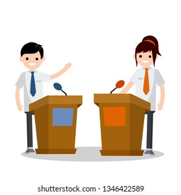 Presidential kids debate. Dialogue between two people behind podium. speech of lecturer at lectures. Political election and voting. Controversy man and woman in suits. Red vs blue. Girl vs boy