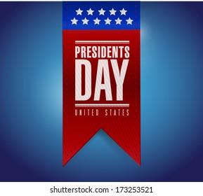 presidents day banner illustration design over a blue background