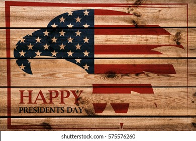Presidents Day emblem with American eagle in red frame. Wooden background