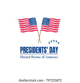 Presidents Day on USA flag with American. Happy presidents day poster illustration