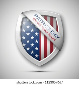 President's day shield banner isolated, stars and stripes presentation. Independence Day icon, USA flag. Protect privacy badge. United States of American President holiday shield. Veterans Day sign