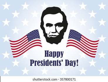 Presidents' Day. Washington's Birthday. Background with President Lincoln. Holiday background. Festive card. Festive illustration. Blue background with the American flag. Federal holiday illustration