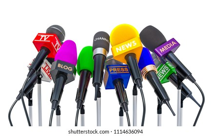 Press conference or interview concept. Microphones of different mass media, 3D rendering isolated on white background