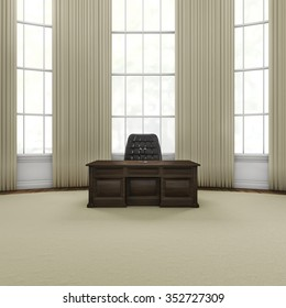Press conference office / 3D render of grand wooden desk with microphones in stately office