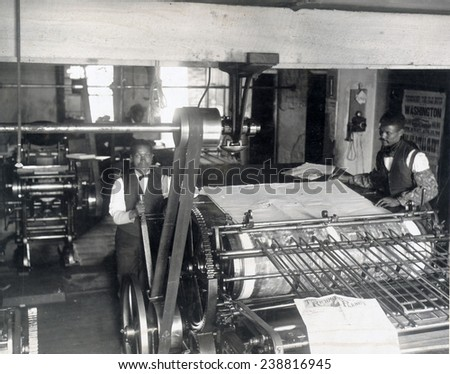Press room of the Planet newspaper, Richmond, Virginia. 1899
