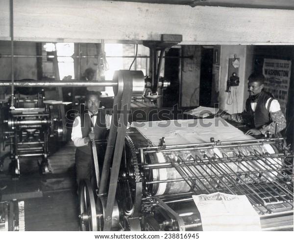 Press room of the Planet newspaper, Richmond, Virginia. 1899