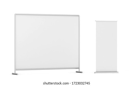 Press wall with roll-up banner mockup. 3d illustration isolated on white background