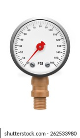Pressure gauge isolated with clipping path on white