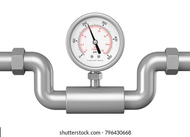 Pressure Gauge Manometer in Industrial Pipe on a white background. 3d Rendering.