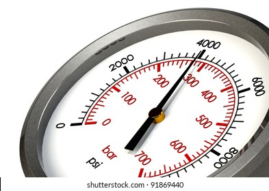 A Pressure Gauge Reading a Pressure of 4000 PSI