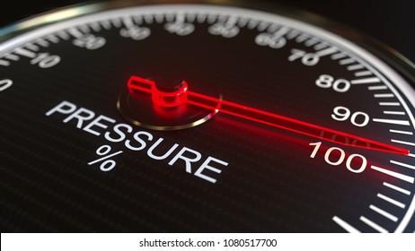 Pressure meter or indicator. 3D rendering